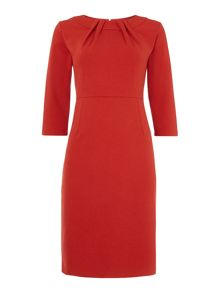 Brick ponte tuck neck dress