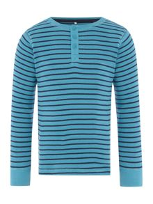 Boys Long Sleeved Striped Henley Neck Tshirt