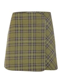 Victoria Beckham Denim Curved checked mini skirt