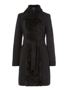 Vince Camuto Wool wrap coat with fur collar