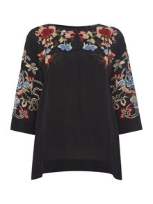 Oriental embroidered blouse