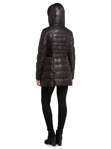 Vince Camuto Short belted hooded padded coat