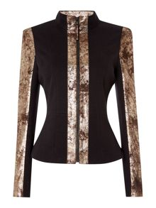 Biba Heritage Real leather and stretch ponti jacket