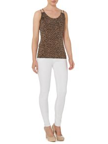 Sleeveless buckle shoulder leopard top