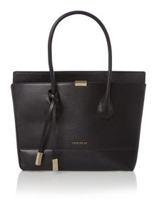 Black flap over tote bag