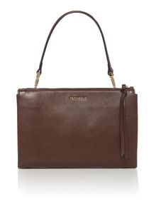 Brown flap over shoulder bag