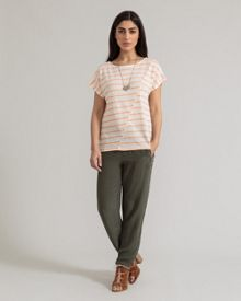 East Short Sleeve Stripe Top