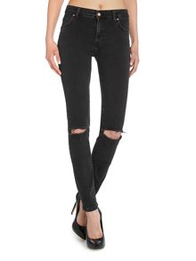 Dr Denim Regina 5pocket skinny jean in old black destroyed