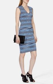 Space dye viscose stripe bandage dress