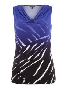 Episode Cowl neck top in ombre zebra print