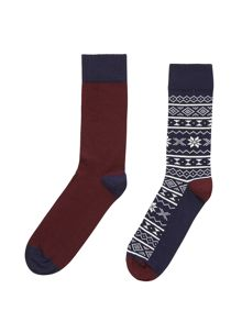 2 Pack All Over Fairisle Sock