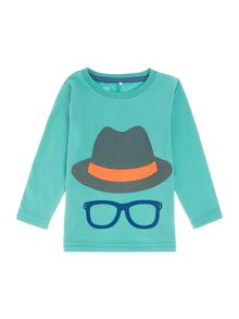 name it Boys Long Sleeved Hat And Glasses Tshirt