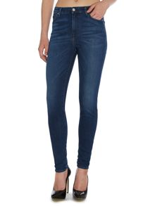 7 For All Mankind Super hightwaist skinny jean in digital blue mid