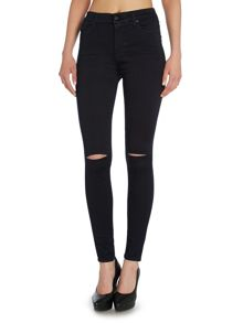 High waist ripped skinny jean in second skin blue