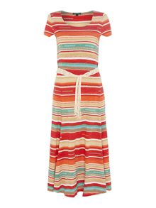 Lauren Ralph Lauren Aghan sleeveless stripe scoop neck dress