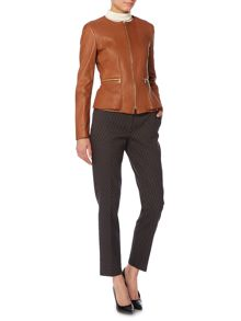 Sakira Collarless Leather Jacket