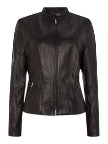 Hugo Boss Sarang Biker Zip Thru Leather Jacket
