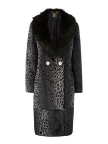 Luxe leopard faux fur coat with detachable collar