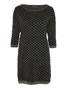 Biba Knitted metallic zip detail jumper dress