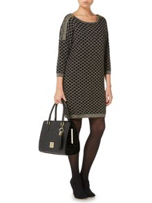 Knitted lurex zip detail jumper dress