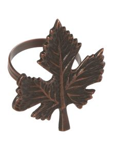 Linea Highland Leaf Napkin Ring Set Of 4
