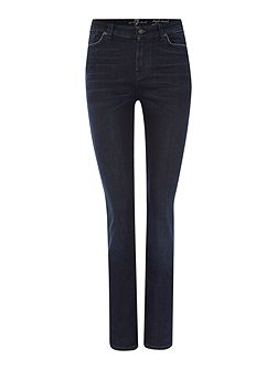 High waist vintage straight jean in aged denim