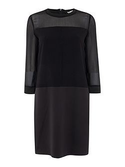 Teti sheer sleeve shift dress
