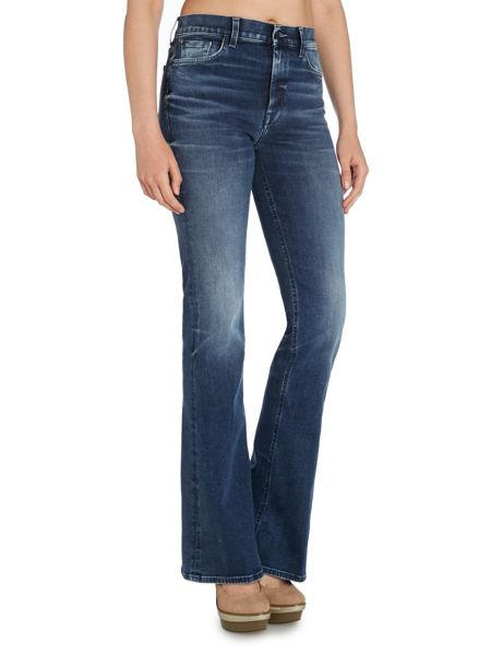 7 For All Mankind High waisted vintage bootcut jean in aged denim