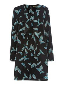 Feather printed shirt dress