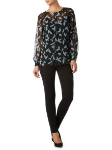 Feather printed lace panel blouse