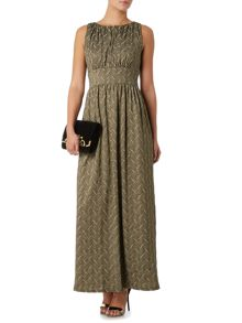 Deco column maxi dress