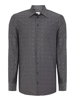 Pattern Slim Fit Long Sleeve Classic Collar Shirt