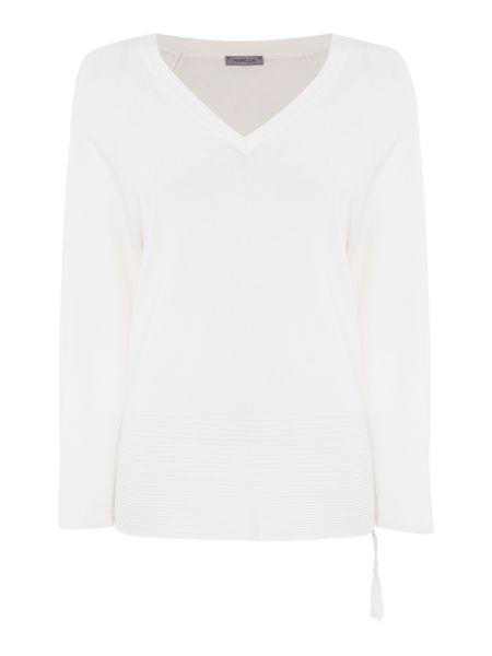 Marella Pale v neck ribbed hem jumper
