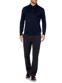 Plain Regular Fit Long Sleeve Polo