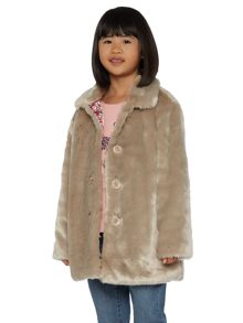 Little Dickins & Jones Girls Faux Fur Coat