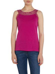Lauren Ralph Lauren Rozelyne top with lace sleeve insert