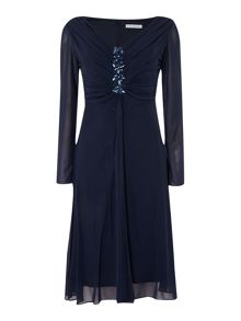 Sheer sleeve dress with jewelled bodice