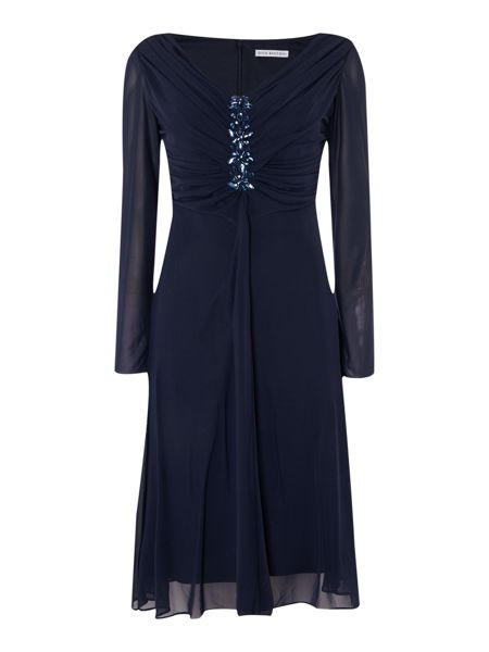 Shubette Sheer sleeve dress with jewelled bodice