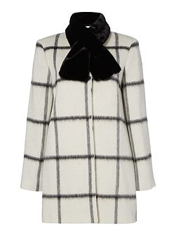 Linea Window pane check coat with faux fur