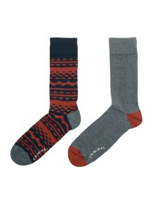 Criminal Tonal Fair Isle Socks, Pack of 2, One Size