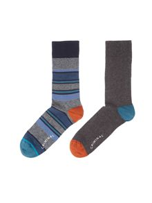 Criminal Block Stripe Socks, Pack of 2, One Size