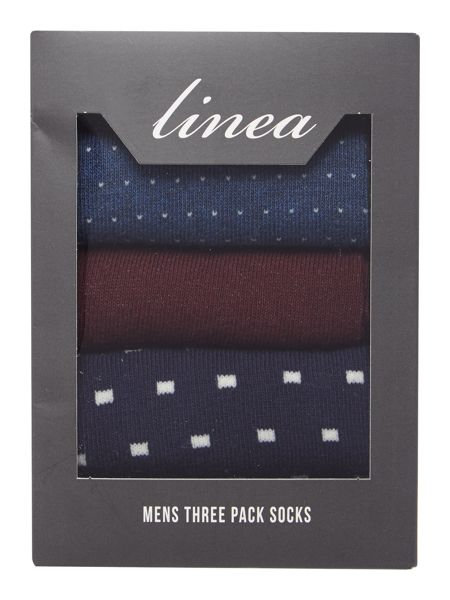 Linea Spot and Plain Sock Gift Box, Pack of 3, One Size