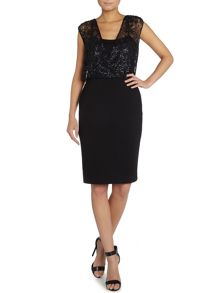 Shubette Sleevless shift dress with sequin wrap top