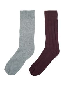 Linea Ribbed socks, Pack of 2, One Size