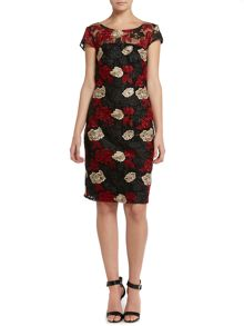 Cap sleeve dress with floral illusion