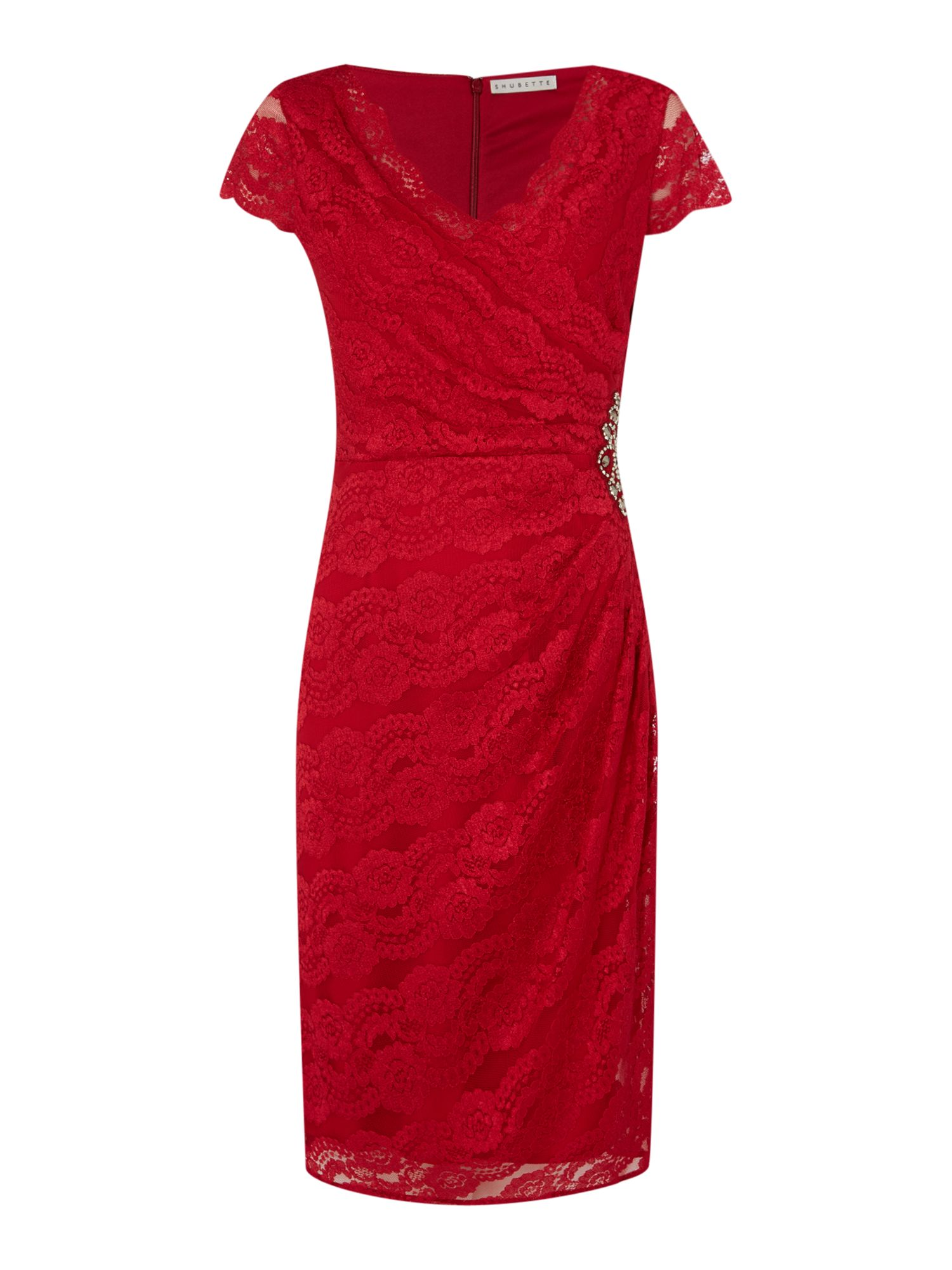Shubette Shubette Cap sleeve wrap dress with all over lace, Red