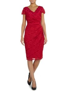 Cap sleeve wrap dress with all over lace