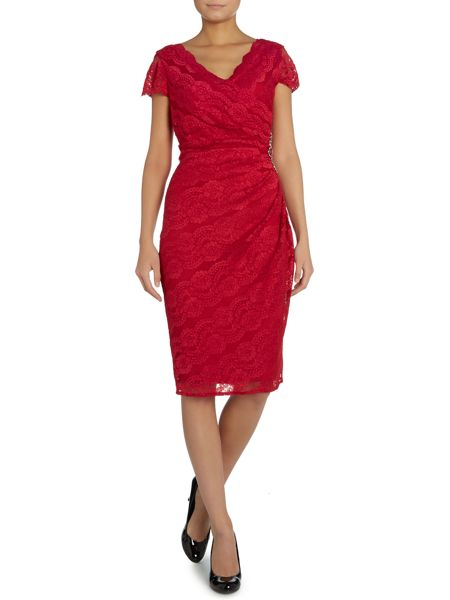 Shubette Cap sleeve wrap dress with all over lace