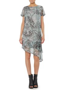 Feather print asymmetric hem dress
