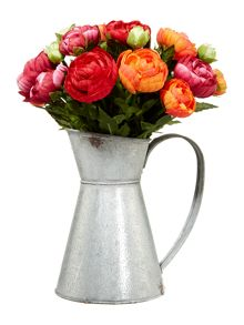 Dickins & Jones Zinc jug filled with ranunculus